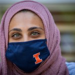 Woman in hijab and face mask